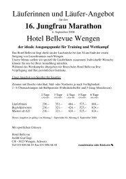 16. Jungfrau Marathon - Hotel Bellevue Wengen