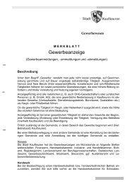Merkblatt Gewerbeanzeigen - Stadt Kaufbeuren