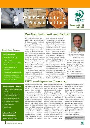 PEFC Austria Newsletter, Nr. 22, Mai