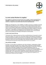 Informations de presse La croix suisse illumine la Jungfrau - Bayer