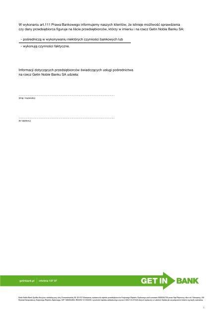 Lista Pośredników Getin Bank