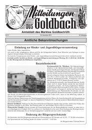 Amtliche Bekanntmachungen - Goldbach