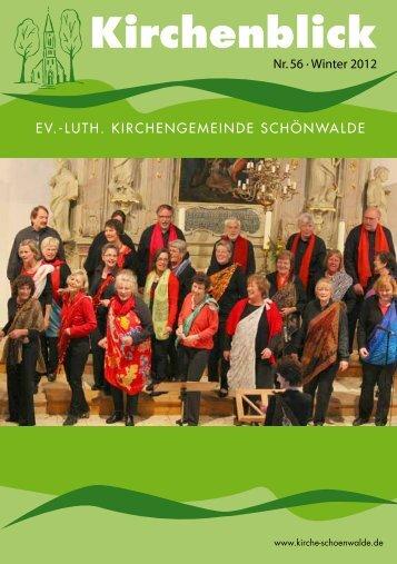 Kirchenblick Nr. 56 - Winter 2012 - Kirchengemeinde Schönwalde