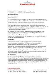 PRESSEINFORMATION Kawasaki Robotics Minimal aus Prinzip ...