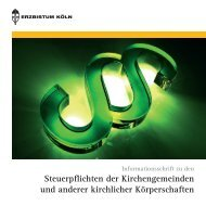 Steuerpflichten der Kirchengemeinden und ... - Erzbistum Köln