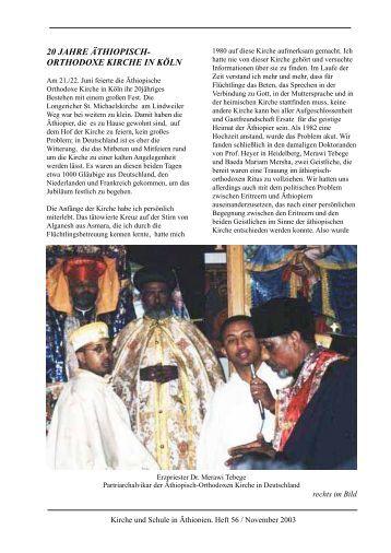 20 jahre äthiopisch- orthodoxe kirche in köln - bei TABOR SOCIETY ...