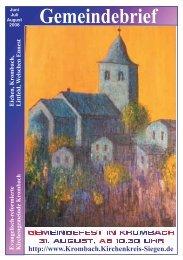 Juni/Juli/ August 2008 - Evangelische Kirchengemeinde Krombach