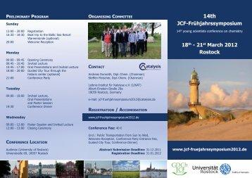 JCF-Frühjahrssymposium 18th - 21st March 2012 Rostock ...