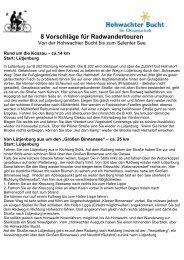 8 Vorschläge für Radwandertouren - Hohwachter Bucht