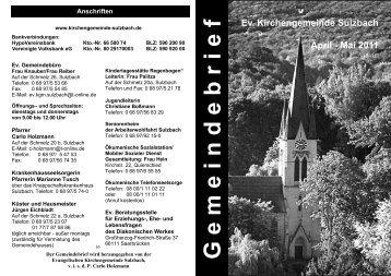 Gemeindebrief April und Mai - Kirchengemeinde Sulzbach