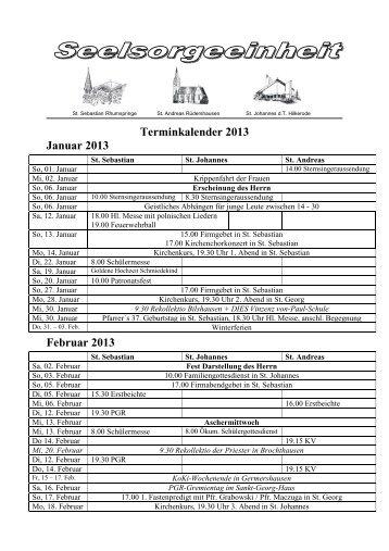Kalender 13-1 SSE St Sebastian - St Johannes - St Andreas