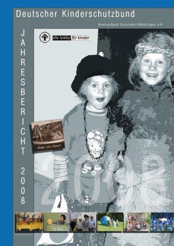 Jahresbericht 2008 - Deutscher Kinderschutzbund Schorndorf ...