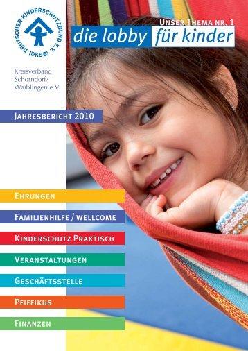 Jahresbericht 2010 - Deutscher Kinderschutzbund Schorndorf ...