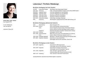 lebenslauf portfolio webdesign uliginde