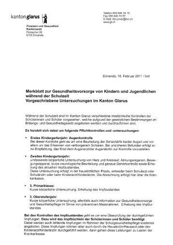 Merkblatt Gesundheitsvorsorge - Gemeinde Glarus Nord
