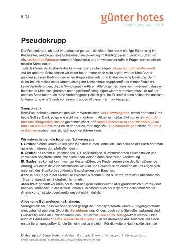 Pseudokrupp (pdf, 138KB) - Günter Hotes I Kinder