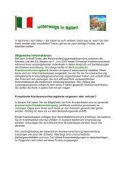 Ferien in Italien - Gemeinsame Einrichtung KVG