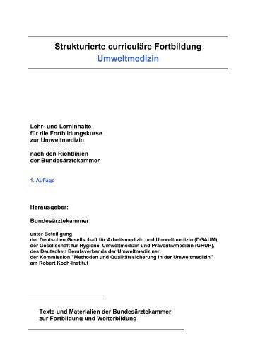 Strukturierte curriculäre Fortbildung Umweltmedizin (Curriculum ...