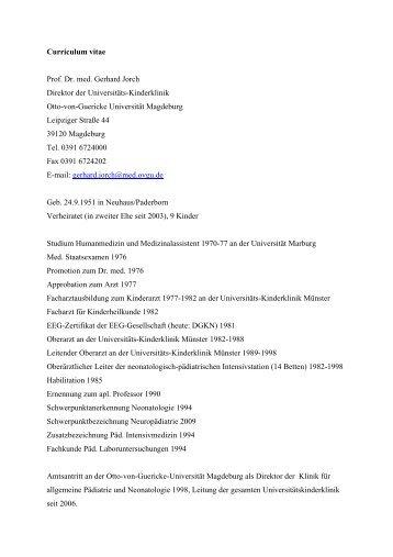 Curriculum vitae Prof. Dr. med. Gerhard Jorch Direktor der ... - DIVI