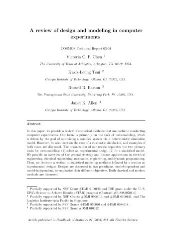 A review of design and modeling in computer experiments