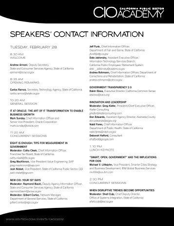 SPEAKERS' CONTACT INFORMATION