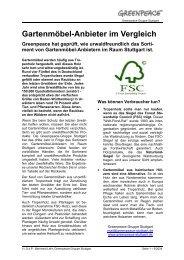 Gartenmöbel-Anbieter im Vergleich - Greenpeace-Gruppe Stuttgart