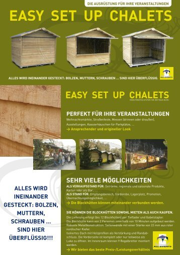 EASY SET UP CHALETS