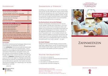 Zahnmedizin - Eberhard-Karls-Universität Tübingen