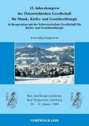 13. Jahreskongress der Österreichischen Gesellschaft für Mund ...