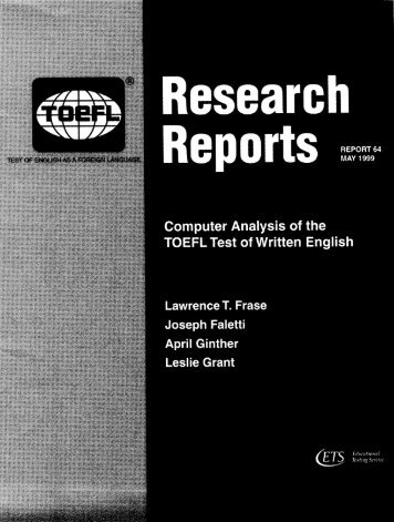 Computer Analysis of the TOEFL Test of Written English - ETS