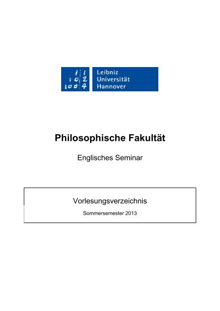 Kvv Englisches Seminar Leibniz Universität Hannover