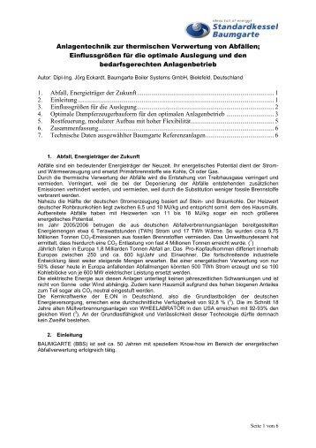 Anlagentechnik zur thermischen Verwertung von Abfällen ...