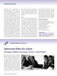 Lebenswert leben bis zuletzt - Landesärztekammer Hessen