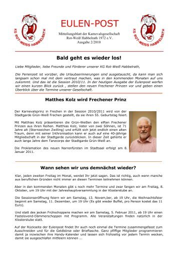eulenpost 2_2010 neu - KG Rot-Weiss Habbelrath 1972 eV