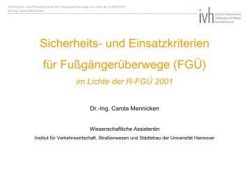 FGÜ - Institut für Verkehrswirtschaft, Straßenwesen und Städtebau