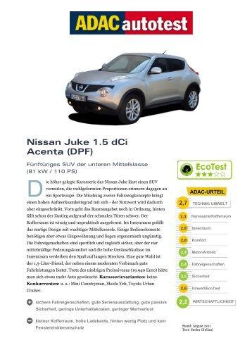 Umfassender Test Nissan Juke 1.5 dCi Acenta (DPF - ADAC