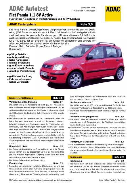 Umfassender Test Fiat Panda 11 8v Active Adac