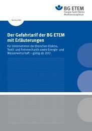 Der Gefahrtarif der BG ETEM mit Erläuterungen - Die BG ETEM