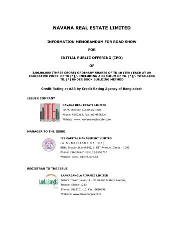 NAVANA REAL ESTATE LIMITED - Dhaka Stock Exchange