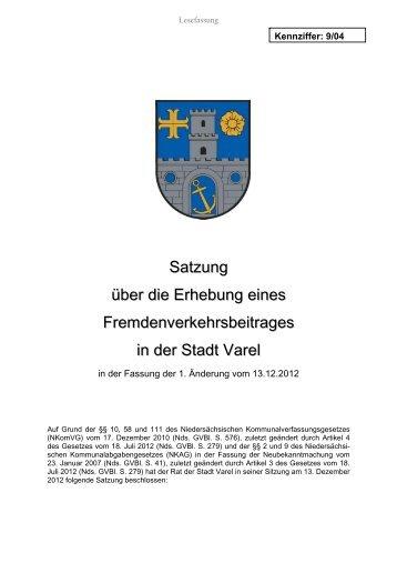 Fremdenverkehrsbeitragssatzung - Stadt Varel