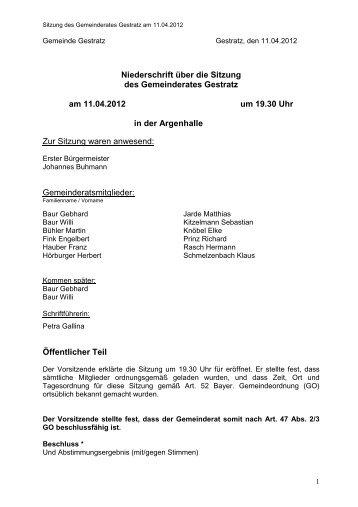 Gemeinderatssitzung, 11.04.2012