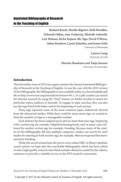 foto de Annotated Bibliography of Research in the Teaching of - National ...