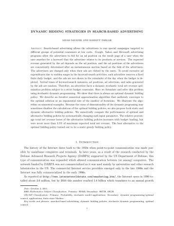 Dynamic bidding strategies in search-based ... - Bilkent University