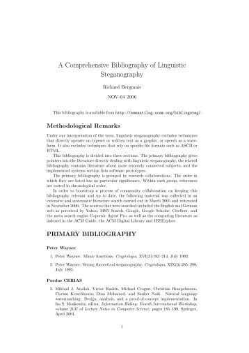 A Comprehensive Bibliography of Linguistic Steganography
