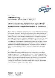 Medienmitteilung Neuheiten am Suisse Caravan Salon 2011