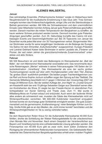 Chronik der Gemeinde Mittelberg für das Jahr 2007 - Vorarlberger ...