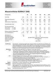 Wasserenthärter BURKO F 2850 - Burkhalter AG
