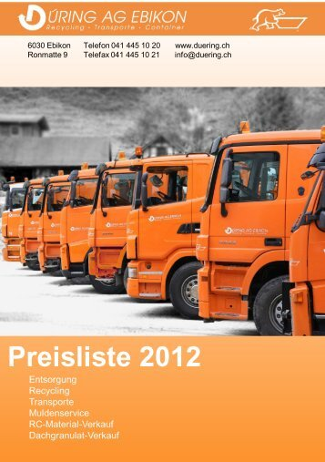 Preisliste 2012 - Düring AG Ebikon