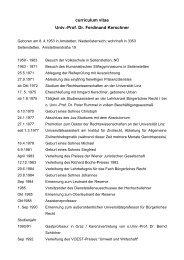 curriculum vitae Univ.-Prof. Dr. Ferdinand Kerschner