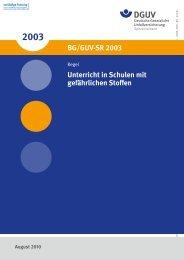 Unterricht in Schulen mit gefährlichen Stoffen BG/GUV-SR 2003